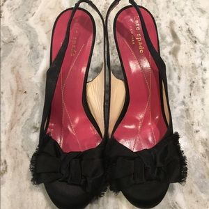 Kate Spade Black Silk Bow Heels