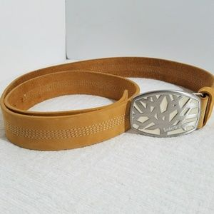 Timberland Leather Tan Belt Silver Logo Buckle