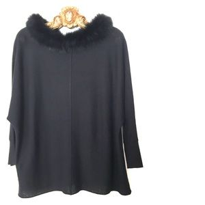 Alice Olivia Black Cashmere Blend Fox Fur Pullover