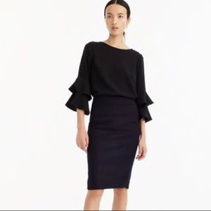 J Crew No 2 pencil skirt double-serge wool Navy 0
