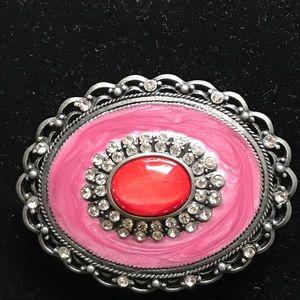 Vera Pella Accessories - Genuine Leather Belt with Rhinestone Embellishment