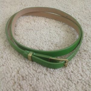 Lime green patent leather belt from J. Crew