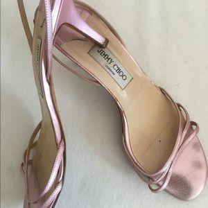 Jimmy Choo metallic pink kitten heels 41