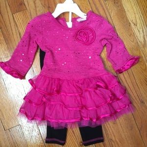 Youngland Girls' Sparkle Sweater Tiered Dress