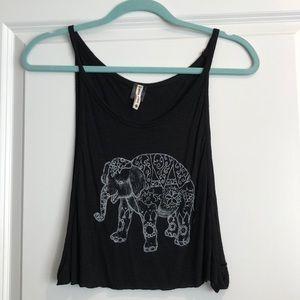 Emma & Sam black crop top with elephant