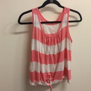Pink and white striped tank