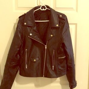 Quality Black faux leather motojacket—Nordstrom