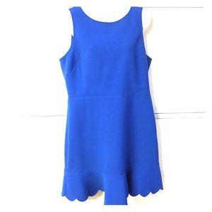 J. Crew Factory cobalt blue scallop hem dress