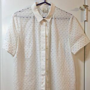 Kate Spade White Marissa Eyelet Shirt