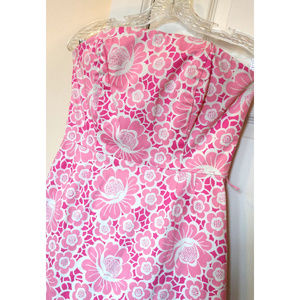 Vintage Lilly Pulitzer Strapless Pink Dress sz 4