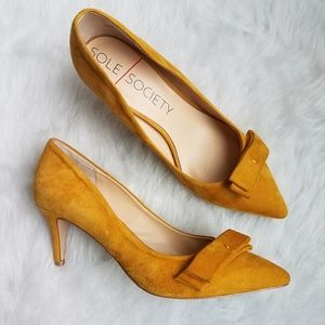 Sole Society Peyton Yellow Suede Bow Pump Heels