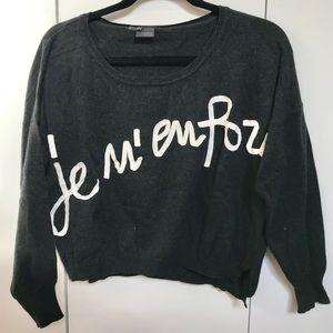 "UO Sparkle & Fade Dark Gray ""Je M'en Fou"" Sweater"