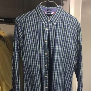 Green and blue button down