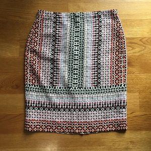 J.Crew Pink Geo Drapey Printed Skirt