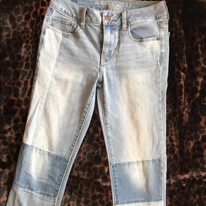 American Eagle patchwork skinny jeans