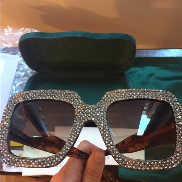 c2886ca6bc83c GUCCI Oversize Rhinestone Sunglasses GG0048