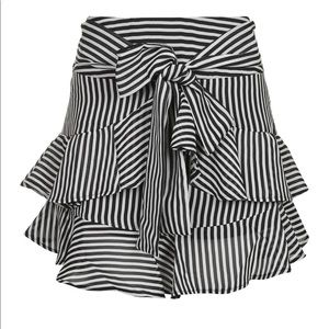 TopShop black and white striped flouncy skirt