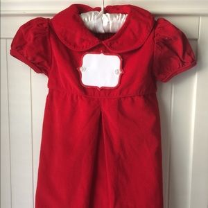 Little Girls Red Corduroy Christmas Dress 4T