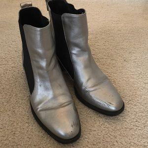 Zara Silver Metallic Boots Size 39