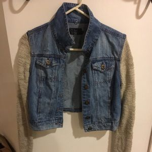 Jackets & Blazers - Jean jacket with attached knit sleeves
