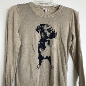 Tan sweater with dog detail
