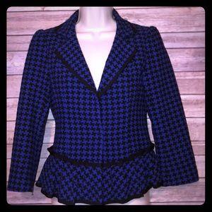 Nanette Lepore Blue Black Houndstooth Blazer 2