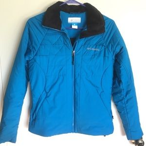 Columbia bright blue puffer jacket black collar