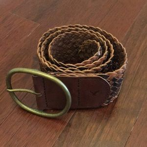 Wide Braided Leather American Eagle Belt