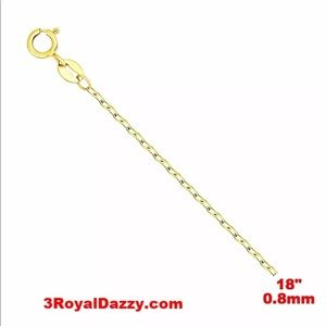Jewelry - Italy 14k yellow gold on 925 Chain 0.8mm 18""