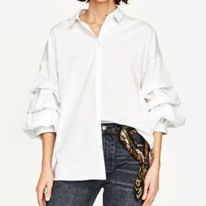 Zara POPLIN SHIRT WITH PLEATED SLEEVES in white