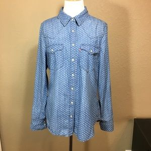 Levi's polka dot chambray pearl snap top Large