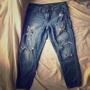 American Eagle Jeggings Jeans, Size 8, Holes
