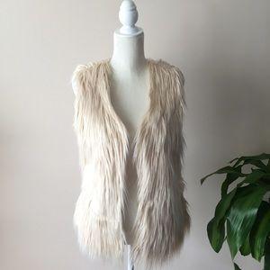 Festive Cream Faux Fur Vest