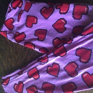 Pink and red heart leggings, vintage LLR OS