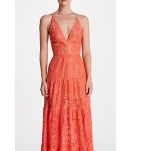 Dress the population Melina lace dress in coral