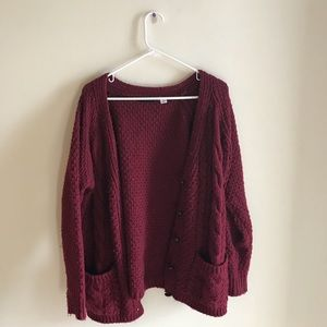 Chunky red cable nit cardigan