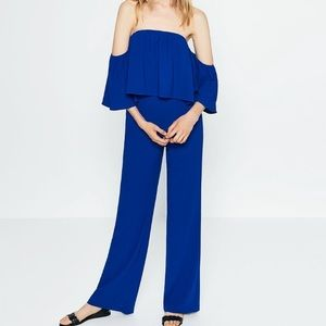 Zara Off the Shoulder Blue Jumpsuit, Size XS
