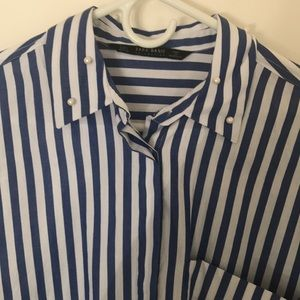 striped zara shirt w/ pearl details