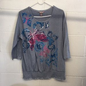 White Stag Blue White Striped Butterfly Top