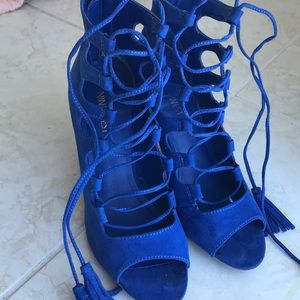 Nine West Suede Lace Up Heels
