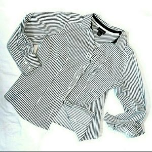 Lane Bryant black white striped button down shirt