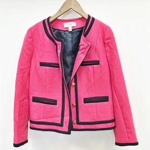 J. Crew | pink + navy blazer