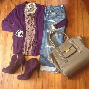 Loft Purple Boyfriend Cardigan Sz L