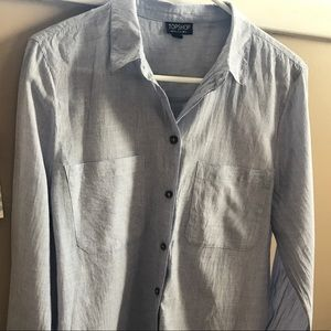 Topshop Chambray Boyfriend  Button Down