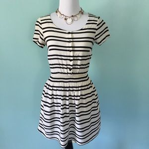 H&M Black and Creme Striped Dress