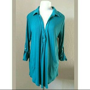 Soft Surroundings teal comfy oversized tunic top