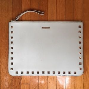 Rebecca Minkoff mint studded clutch/tablet pouch