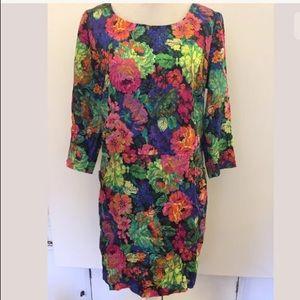 HD in Paris neon floral long sleeve shirt dress