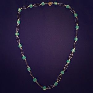 Teal and gold vintage necklace. Beautiful!