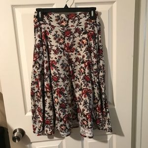 Agnes & Dora Gray Floral Midi Skirt Small